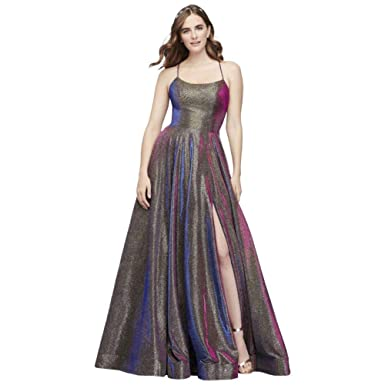 0a13dc3294a David s Bridal Iridescent Prom Dress with Lace-Up Back Style 2139D at  Amazon Women s Clothing store
