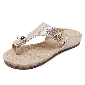 Zicac Women's Clip Toe Sandal Flip-flops Rhinestone Flat Shoes (7, Gold)