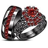 TVS-JEWELS Wedding Ring Set His And Her Black Rhodium Plated 925 Sterling Silver Round Cut Gemstone (Red Garnet)