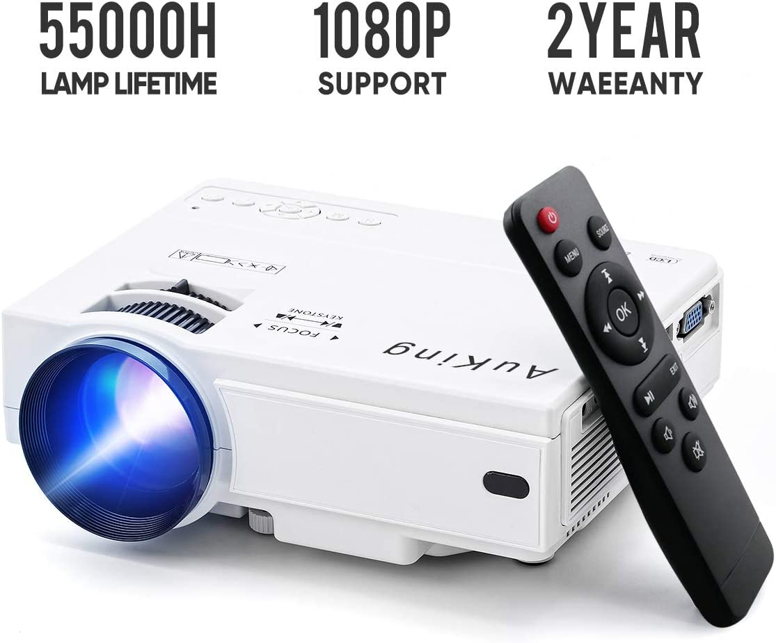 Mini Projector 2019 Upgraded Portable Video-Projector,55000 Hours Multimedia Home Theater Movie Projector,Compatible with Full HD 1080P ...