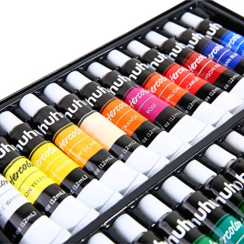 Ohuhu Watercolor Paint Set, 24 Colors Artists Water-color Painting Kit, 12ml x 24 Tubes