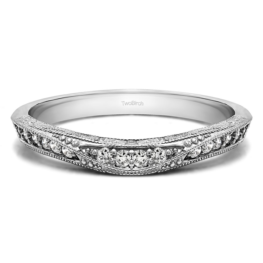 Charles Colvard Moissanite Vintage Wedding Band In Silver(0.18Ct)Size 3 To 15 in 1/4 Size Interval