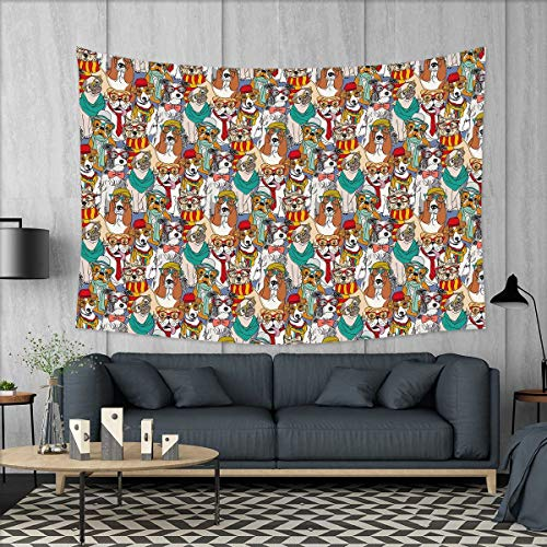 smallbeefly Dog Customed Widened Tapestry Hipster Bulldog Schnauzer Pug Breeds with Glasses Hats Scarf Pattern Colorful Cartoon Wall Hanging Tapestry 90