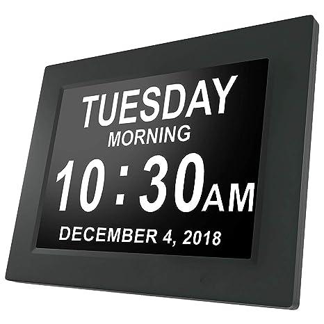 Sedona Day Clock - Reloj Digital Grande, Sin Abreviaturas, para Ancianos y Pacientes con