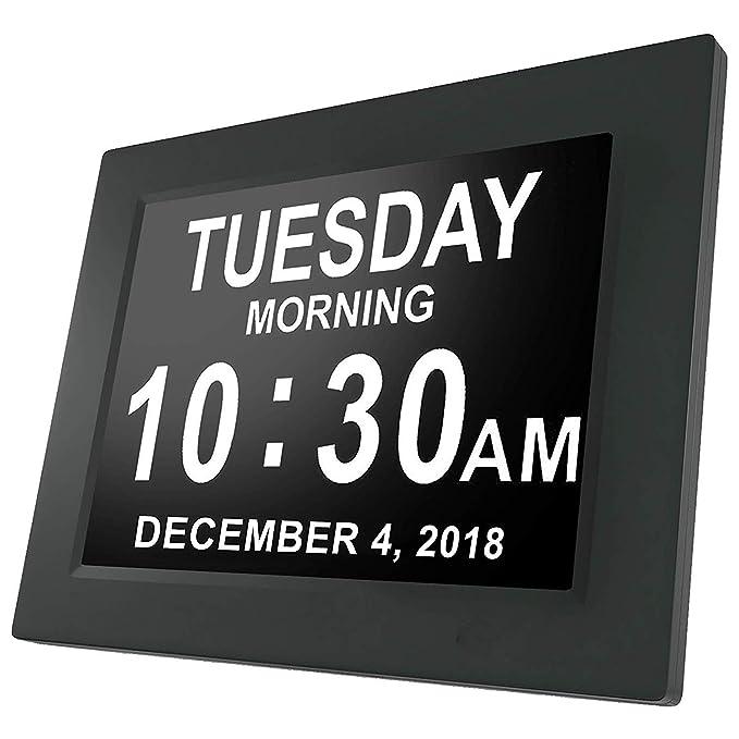 Amazon.com: Sedona Day Clock - Reloj Digital Grande, Sin Abreviaturas, para Ancianos y Pacientes con Demencia - 5 Opciones de Alarmas y Recordatorios de ...