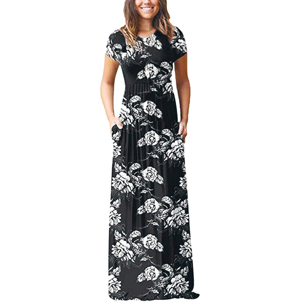 Kaniem Women's Short Sleeve Loose Plain Maxi Dresses Casual Floral Long Dress with Pocket (M, Black)