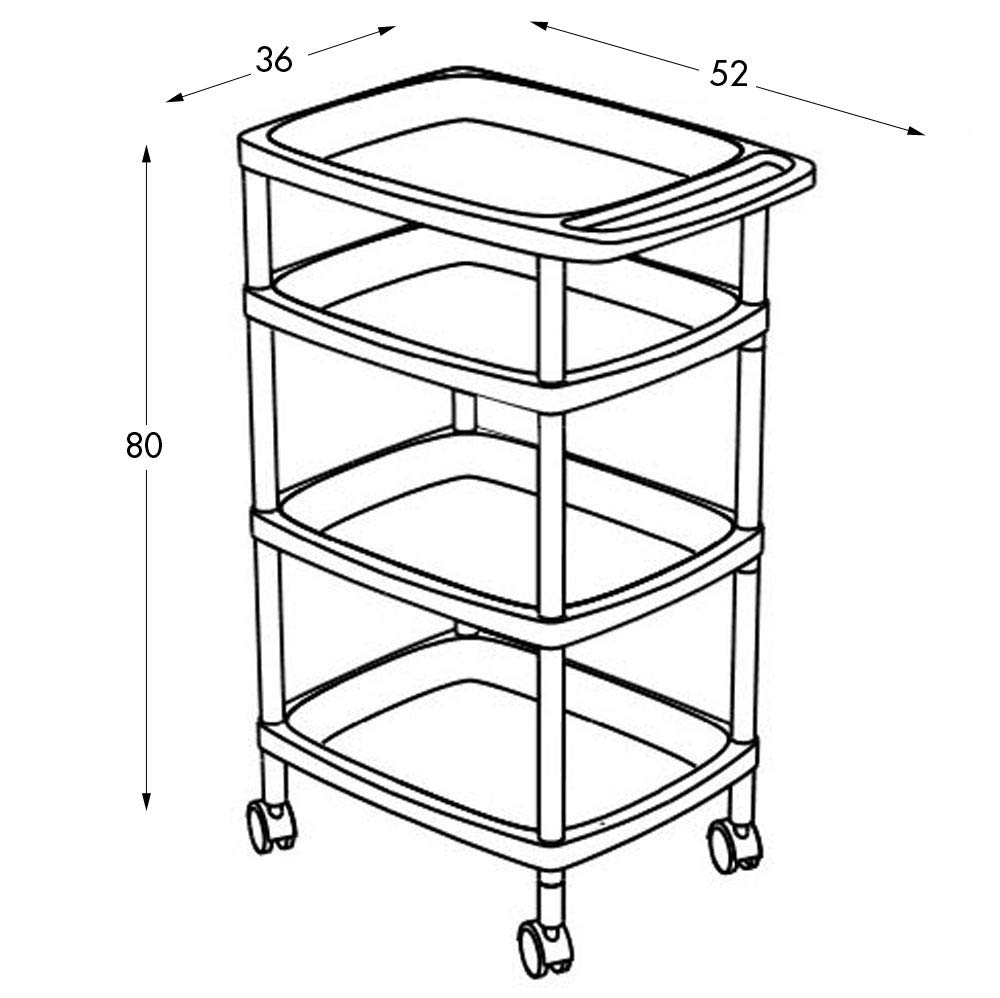 Amazon.com: Tatay 7738201 - Vegetable Trolley with 4 Levels, Plastic, White, 33 x 43 x 10.3 cm: Kitchen & Dining