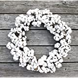 "ES ESSENTIALS Farm House Cotton Boll Wreath for Fall Thanksgiving Harvest Christmas Everyday, 20"" Dia"