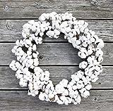 ES ESSENTIALS Farm house Cotton Boll Wreath for Fall thanksgiving harvest Christmas everyday, 22''-30'' dia