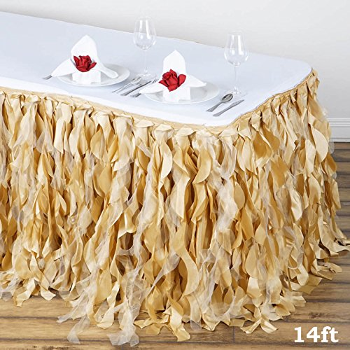 Efavormart 14ft Enchanting Curly Willow Taffeta Table Skirt for Kitchen Dining Catering Wedding Birthday Party Events - Champagne by Efavormart.com (Image #2)