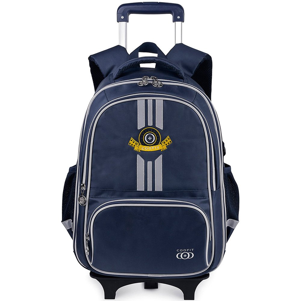 Rolling Backpack, School Backpack With Wheels, COOFIT Rolling Suitcase Luggage With Front Pouch And Side Bottle Holders For Boys And Girl (Dark grey)