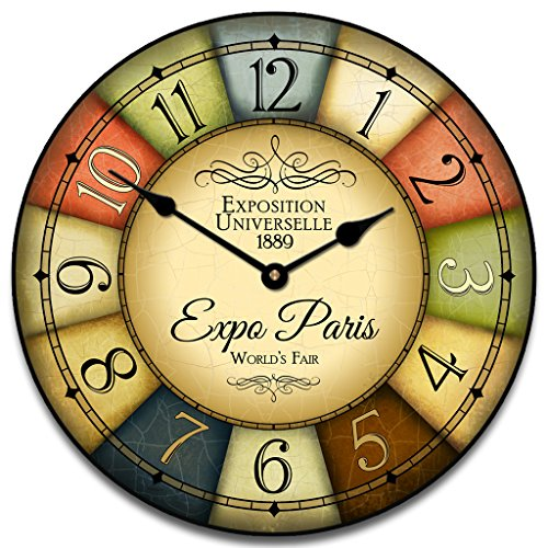 1889 Paris World's Fair Wall Clock, Available in 8 sizes, Most Sizes