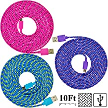 UNISAME [Pack of 3Pcs] 10Ft 3Meter Rugged Nylon Braided Micro USB Cable Charging & Sync Data Cable Charger Cord for Samsung Galaxy S6 S4 S3 Note 2 4 Mega Tab, Galaxy A3 A5 A7 E7, HTC One M9, Nexus 7, LG G3 G4, Moto G X (Hot Pink, Blue, Purple)