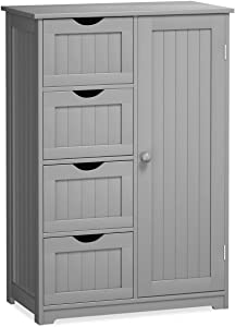 Giantex Bathroom Floor Cabinet Wooden with 1 Door & 4 Drawer, Free Standing Wooden Entryway Cupboard Spacesaver Cabinet, Gray