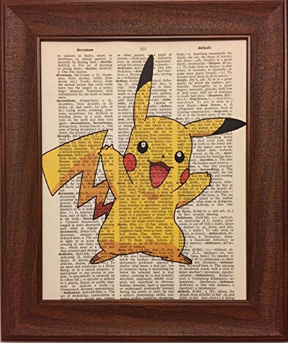 (Ready Prints Pikachu from Pokemon Dictionary Book Page Artwork Print Picture Poster Home Office Bedroom Nursery Kitchen Wall Decor - unframed)