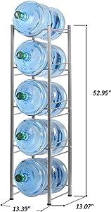 5-Tier Water Cooler Jug Rack, 5 Gallon Water Bottle Storage Rack Detachable Heavy Duty Water Bottle Cabby Rack for Home, Office Organization (Silver)