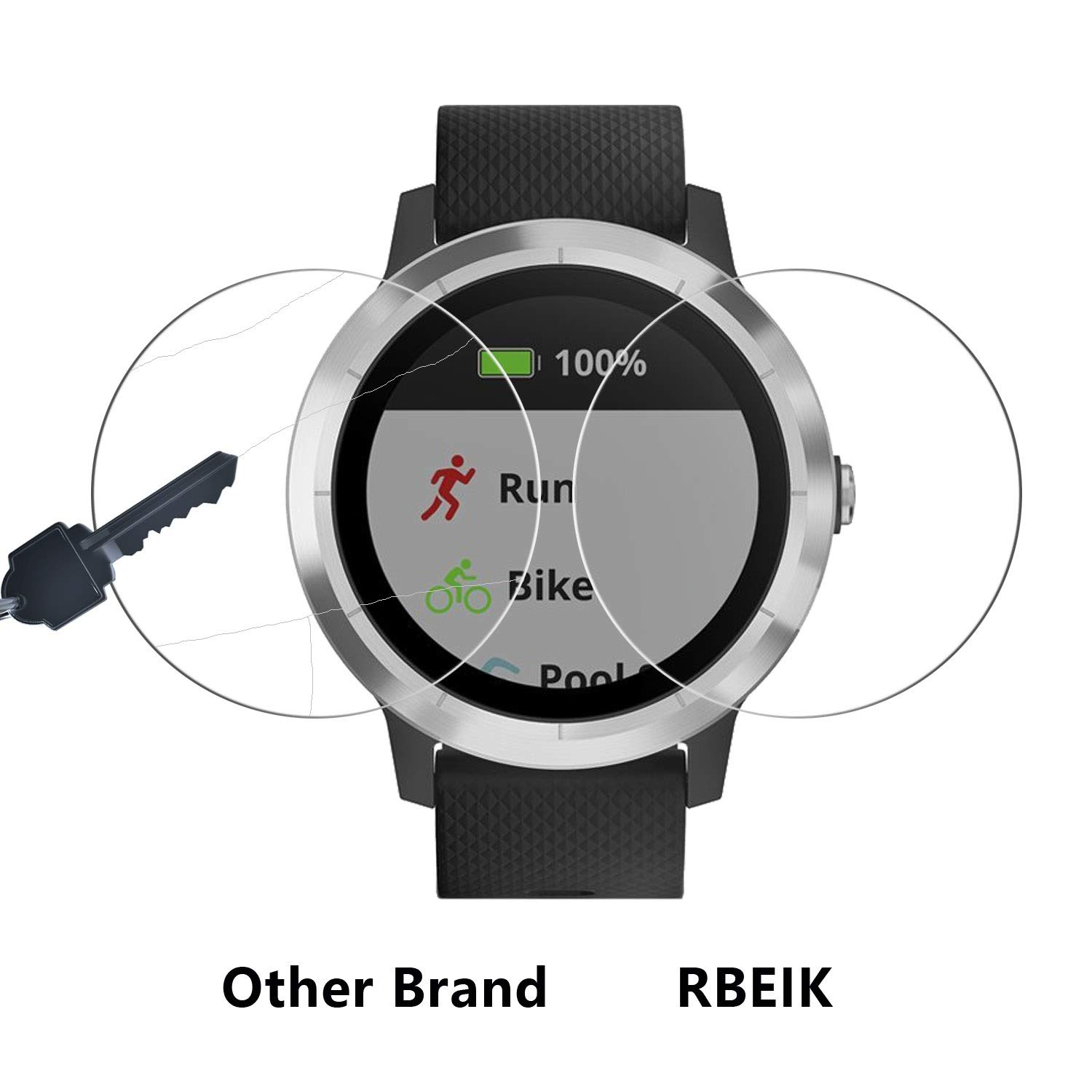 RBEIK Garmin Vivoactive 3 Screen Protector Glass - [3 Pack] Premium 9H Hardness Tempered Glass Screen Protector for Garmin vívoactive 3 Smartwatch ...