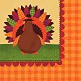 Amscan Turkey Dinner Thanksgiving Luncheon Paper Napkins Party Tableware, 6'' x 6'' Pack of 36