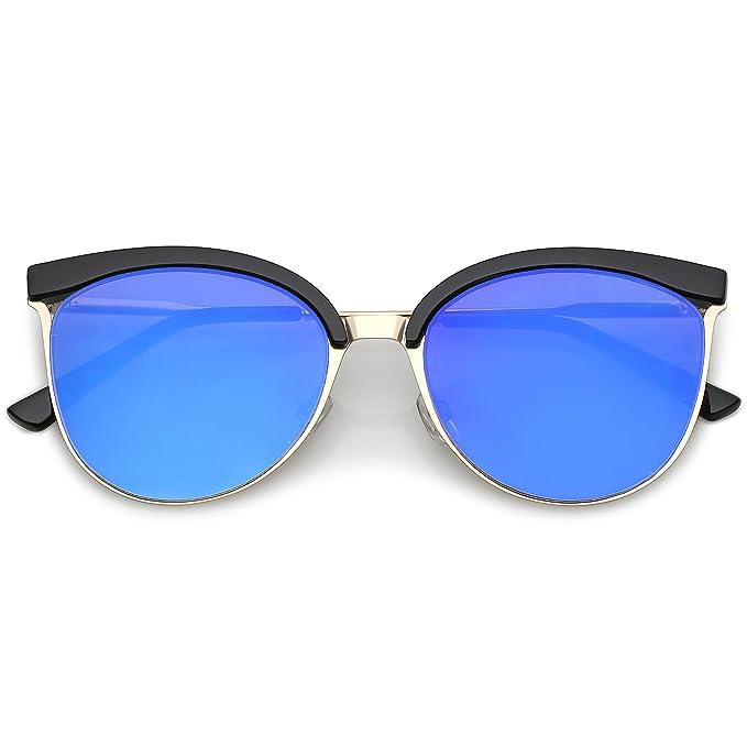 d173b94dbe sunglassLA - Modern Semi-Rimless Cat Eye Sunglasses Cutout Round Mirrored  Flat Lens 55mm (