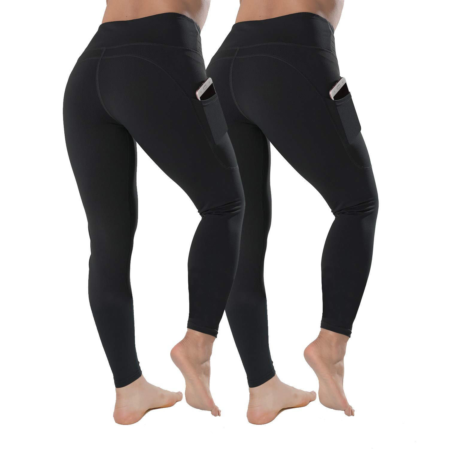 QYQ High Waisted Leggings with Pockets - Workout Leggings for Women Stretch Power Flex Yoga Pants - Full&Capri (Medium, Black 2 Pack) by QYQ