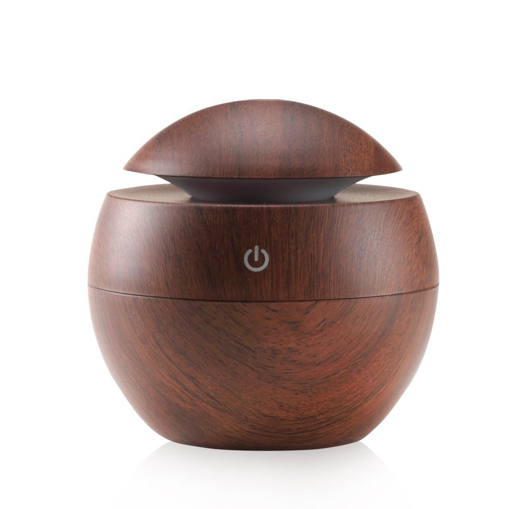 Ultrasonic Essential Oil Diffuser - Humidifier with LED Lights, Compact Size, Silent Operation and Easy-Travel USB Power (Deep wood grain)