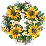 Forevercute 18'' Silk Spring sunflower French Sash wreath french Window Wreath Front Door Home Decor