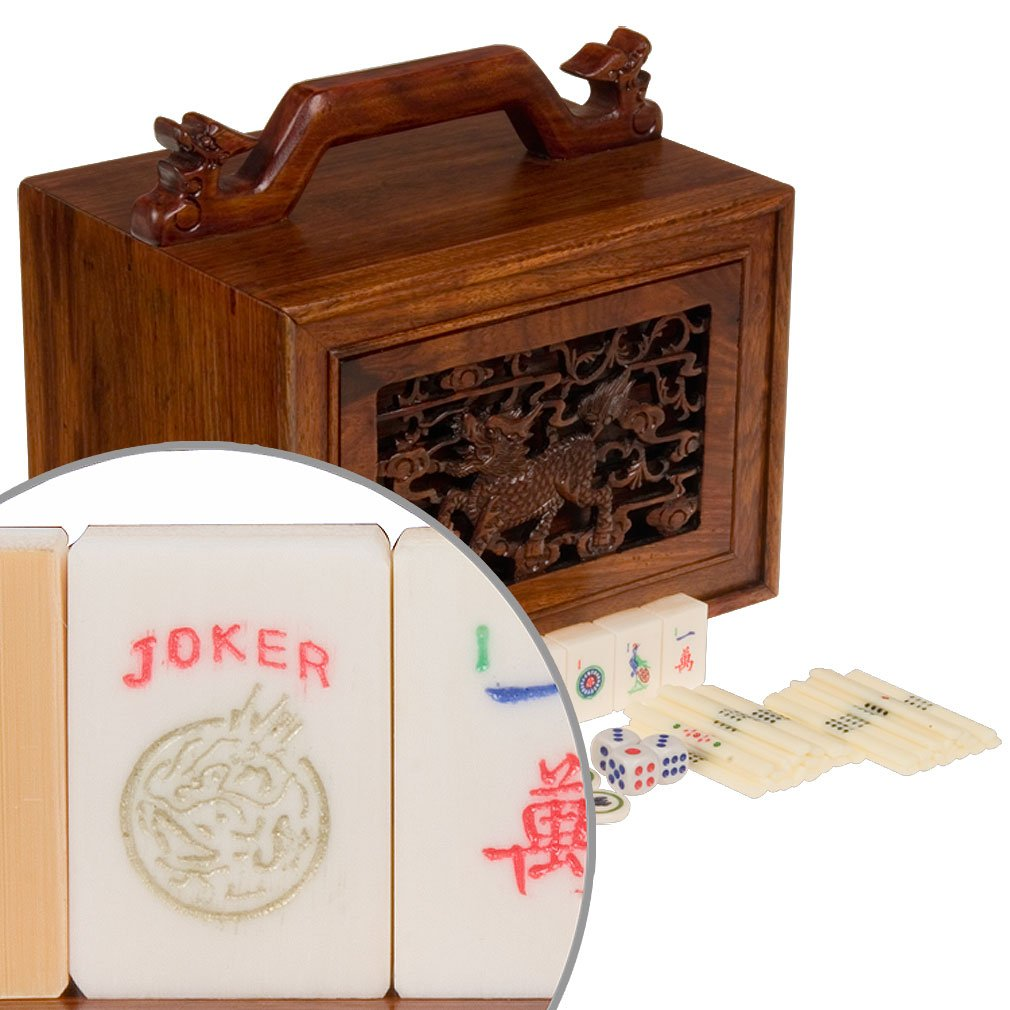 Vintage Inspired American Mahjong Game Set with Bone and Bamboo Tiles and 5 Drawer Rosewood Box, ''Qi