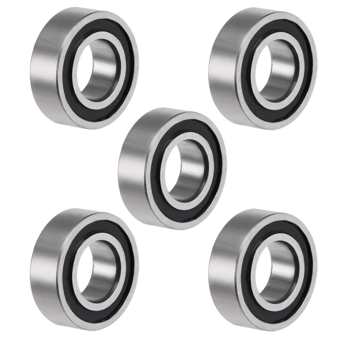 sourcing map R3-2RS Deep Groove Ball Bearing 3//16x1//2x10//51 Double Sealed ABEC-3 Bearings 2-Pack