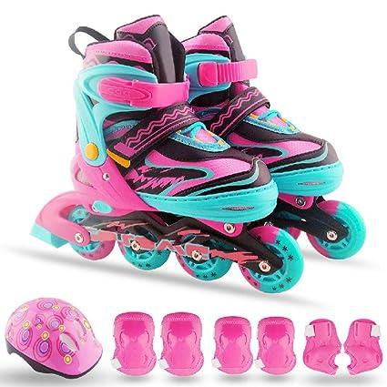 Patines en línea para niños Patín de ruedas ajustable Patines de 4 ruedas para patinaje en