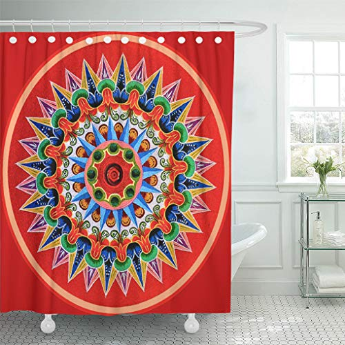 (Semtomn Shower Curtain Rica Costa Rican Oxcartwheel Tradition Folklore Travel Painting Oxcart 72