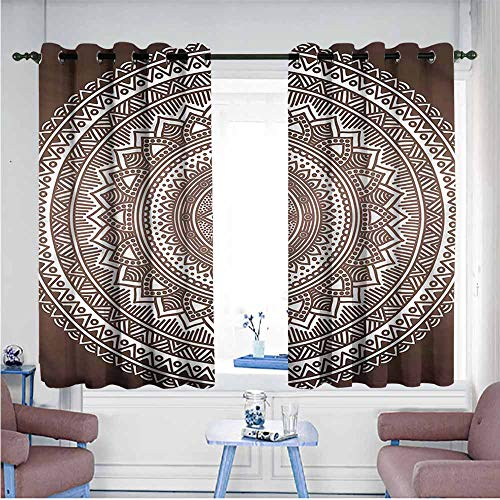 Mdxizc Privacy Curtain Brown Ombre Pattern Bedroom Blackout Curtains W72 xL72 Suitable for Bedroom,Living,Room,Study, - Sport Satin Yarn Ombre