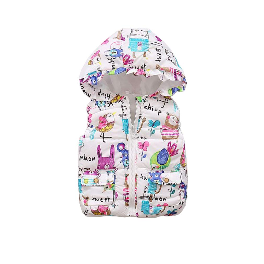 Kids Girls Floral Printing Gilet Coat Autumn Winter Warm Zipper up Sleeveless Waistcoat Outwear//3-8Years