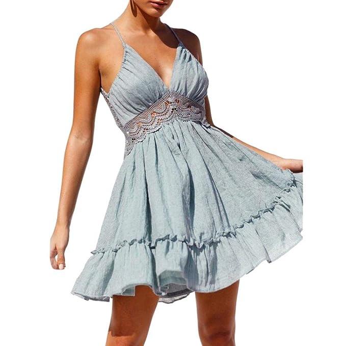 YOUBan Damen Kleid Spitzen Abend Party Kleid Frauen Sommer Ärmelloses Kleid  Sexy Kleid Mädchen Kurze Kleider c3855d7615