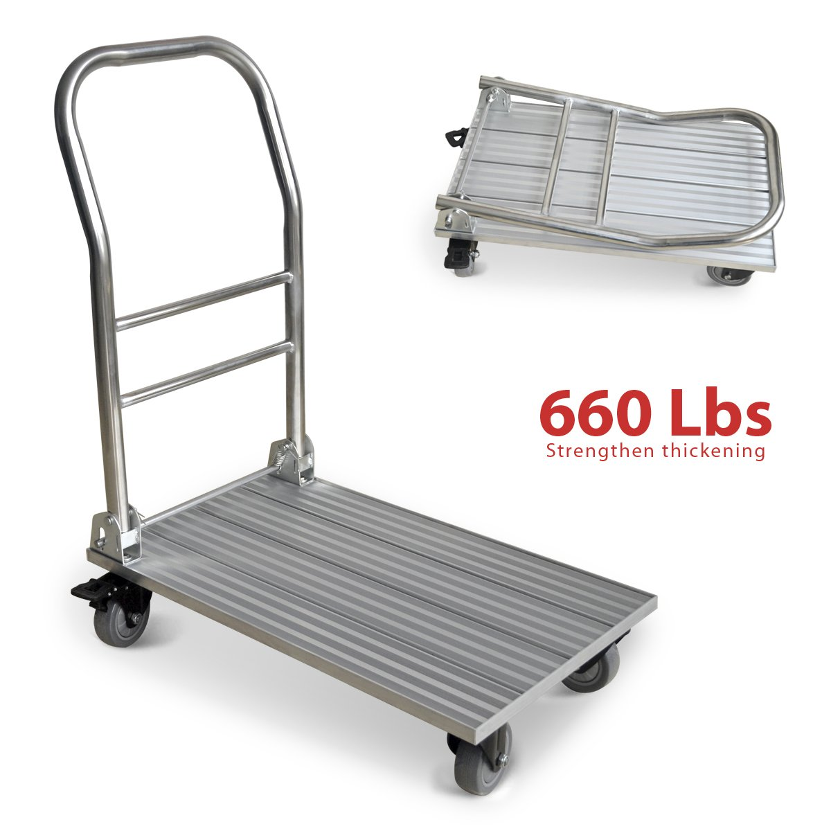 Vtuvia Folding Aluminum Platform Truck 660 lbs Foldable Push Dolly Moving Warehouse Hand Cart Lightweight Plate Trailer