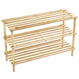 Home Discount 3 Tier Slated Wood Storage Organiser Shoe Stand Rack, Natural FREE DELIVERY