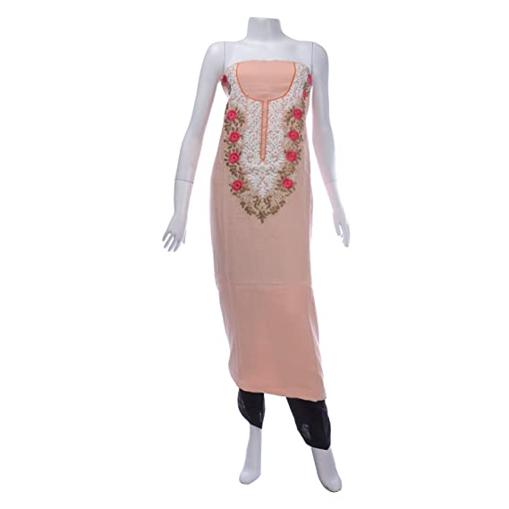 Shopenso Womens Linen Embroidered Peach Kurta, Un-Stitched