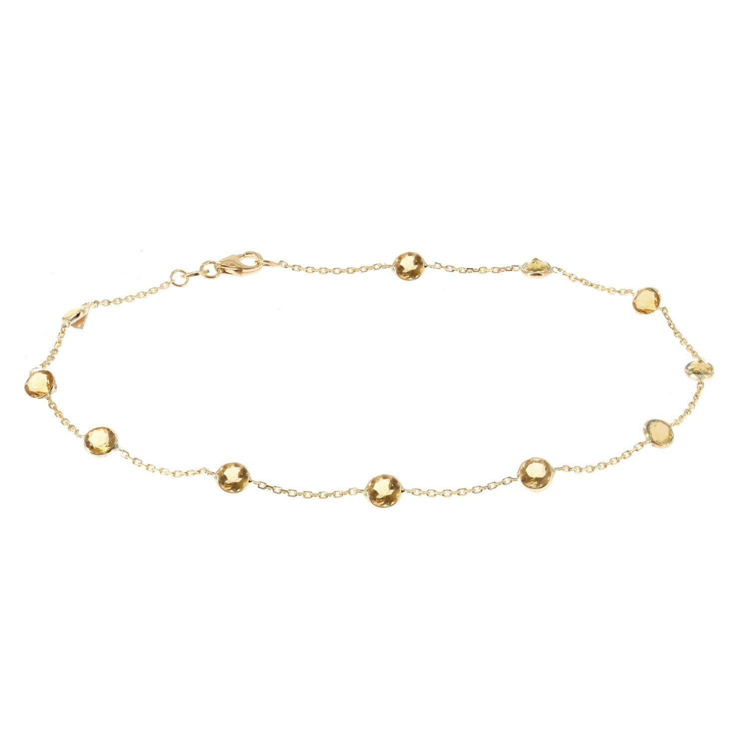 14k Yellow Gold Handmade Station Anklet With Citrine Gemstones 9 - 11 Inches