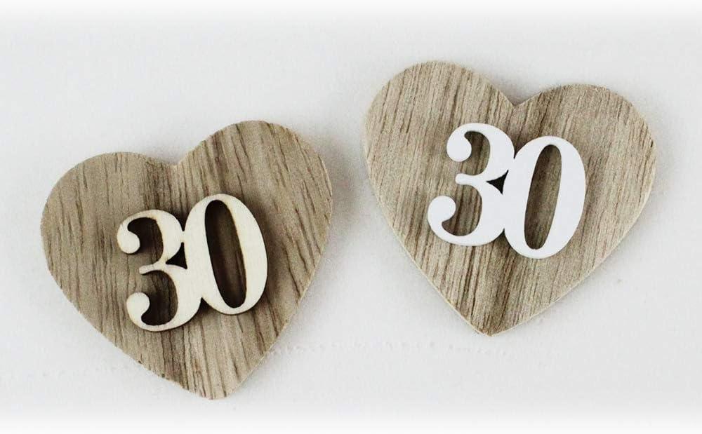 Trentesimo Anniversario Di Matrimonio.Dlm 29175 Legnonaturale Kit 12 Pezzi Magnete Calamita Cuore 30