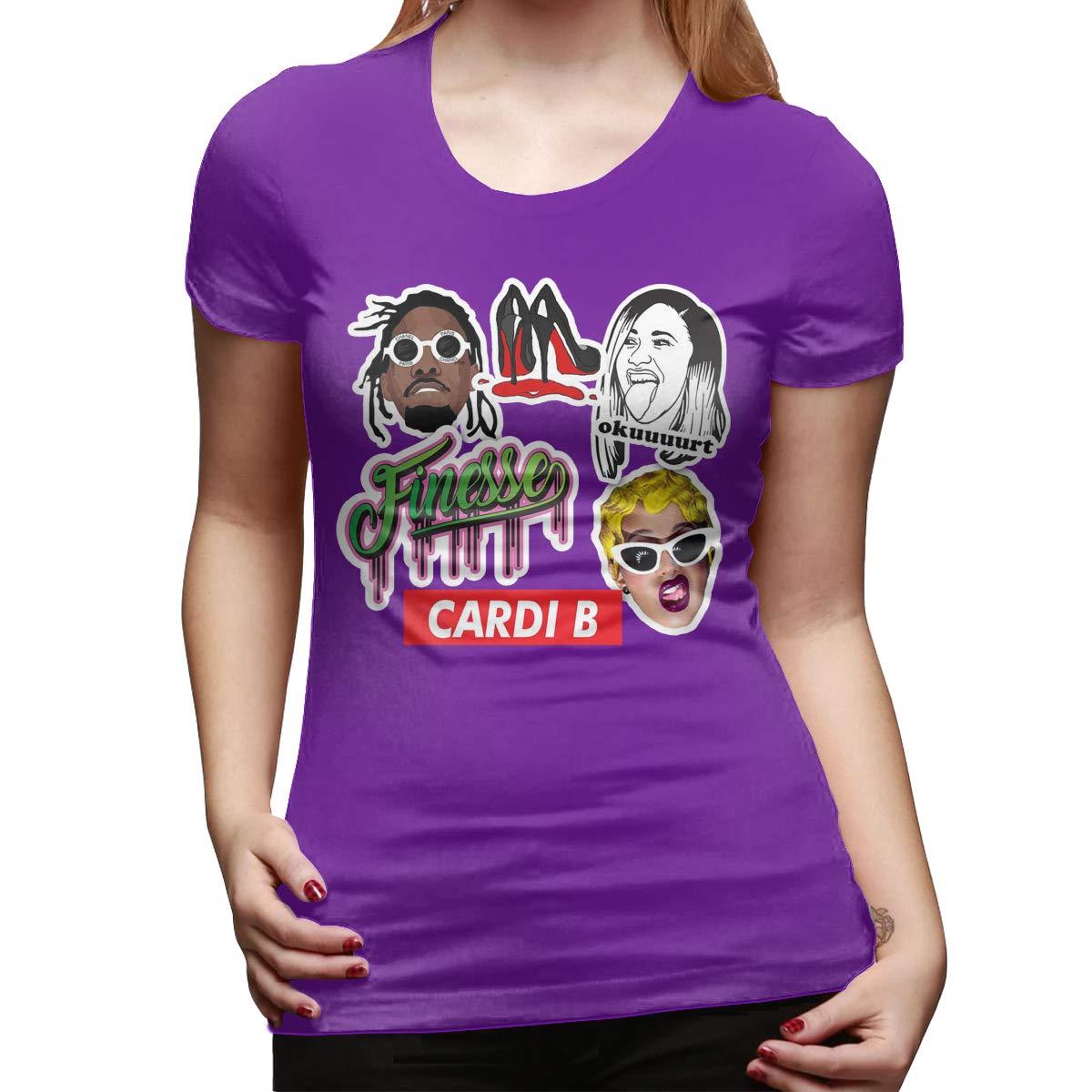 FengZe Personalized Cardi B Sticker Set Short Sleeve Funny T-Shirt for Girl Black