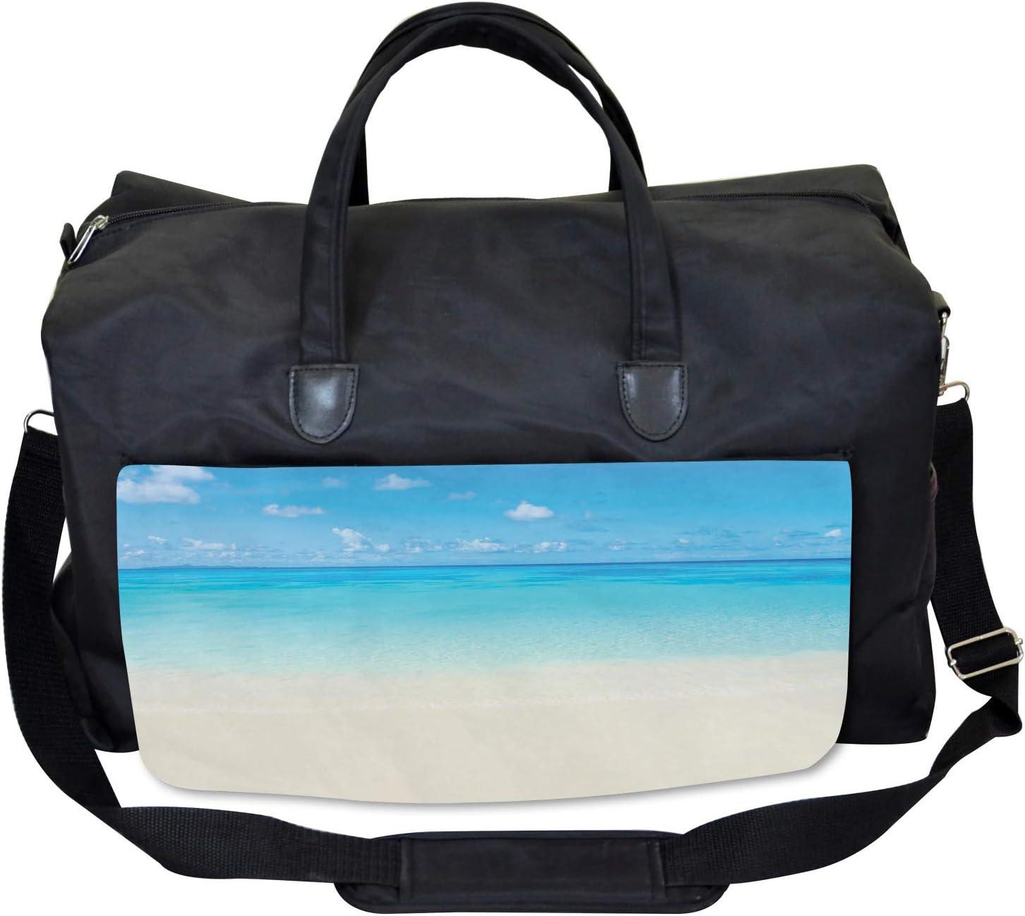 Ambesonne Tropical Gym Bag Large Weekender Carry-on Carribean Sea Beach