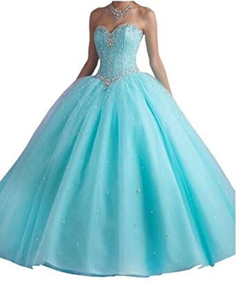 ANGELA Womens Long Prom Dress Beads Ball Gown Tulle Quinceanera Dress Blue 2