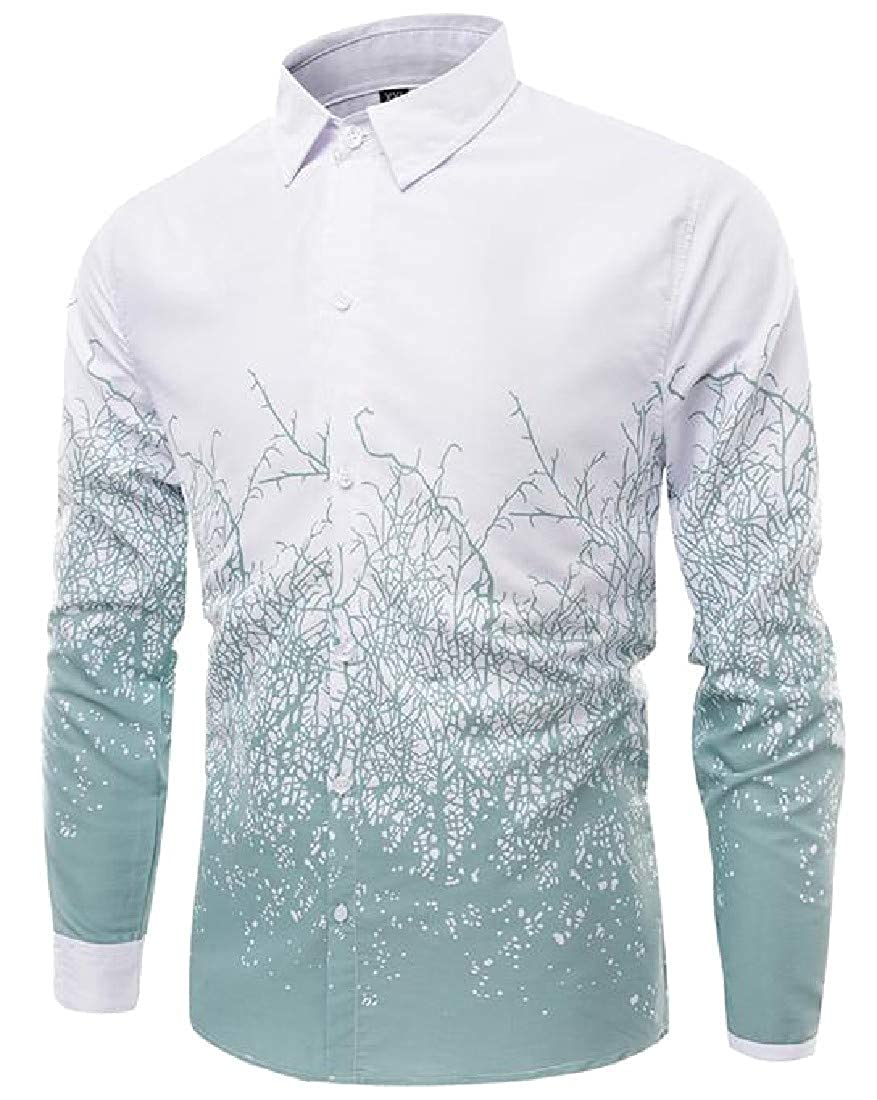 Cromoncent Mens Long Sleeve Casual Lapel Neck Floral Printed Ombre Button Down Shirts