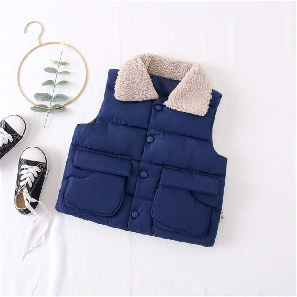 W Kids Vest Fur Collar Girls Down Cotton Clothes Baby Boy Vest Kid Jacket Coat,Blue,6Y by W