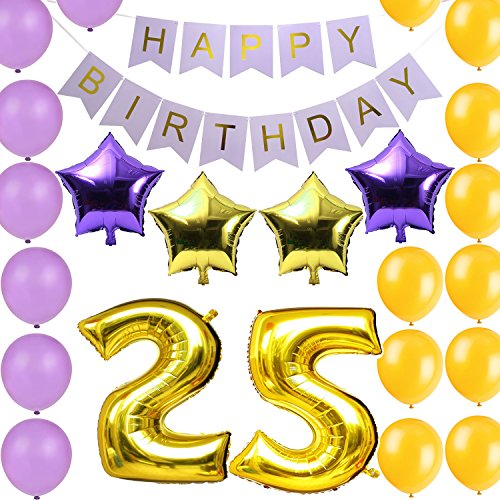 LOVELY BITONR Gold 25th Birthday Party Decorations Kit Happy Banner Number Balloons Include A Inflator Pack Perfect SuppliesFree Body