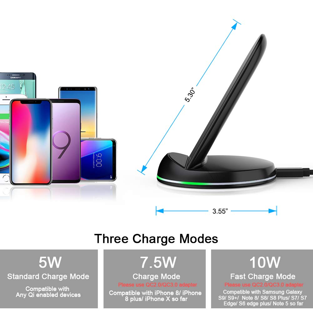 Yootech Wireless Charger Qi-Certified, 7.5W Wireless Charging Stand Compatible iPhone X/8/8 Plus,10W Compatible Galaxy S9/S9 Plus/Note8/S8/S8 Plus,5W All Qi-Enabled Phones(No AC Adapter) by yootech (Image #5)
