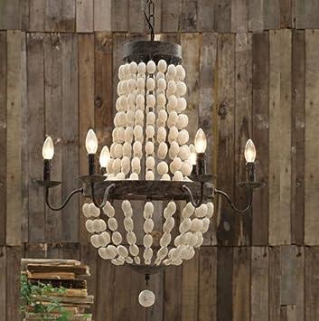 Iron Frame u0026 Wood wooden Beads Chandelier 6 lights large fixture WOW
