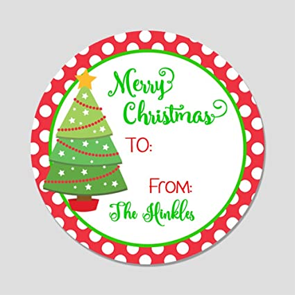e40d62f2979de 20 Personalized Merry Label Tags - Christmas Tree Gift Stickers (GT5)