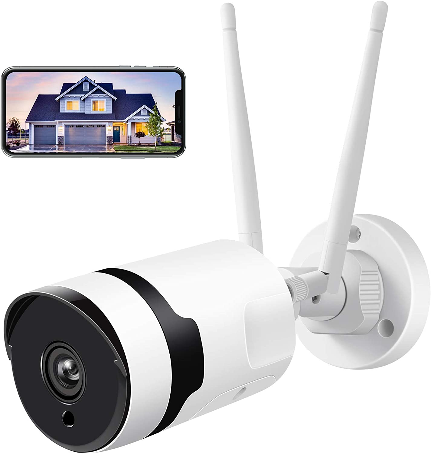 Security Camera Outdoor, HJSHI 1080p Wireless WiFi Surveillance Camera with Dual WiFi Antenna, Two-Way Audio, Night Vision, Motion Detection, Remote Access, Compatible with iOS/Android