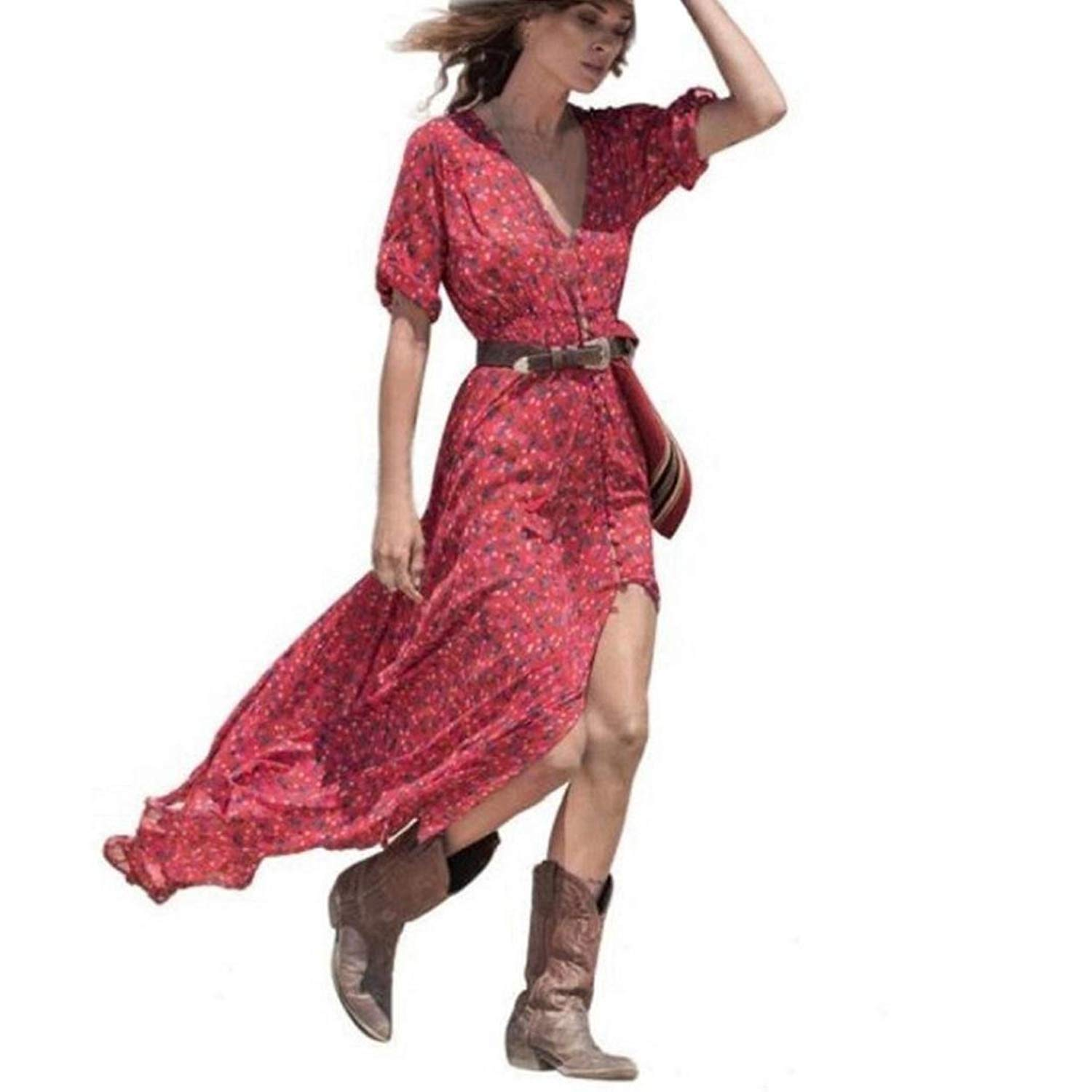 ABASSKY Dresses for Women, Summer Boho Chiffon Floral Party Beach Long Maxi Dress (Red, M)