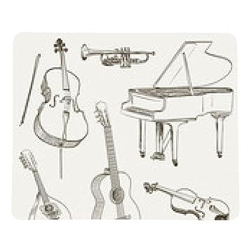 alfombrilla de ratón conjunto de instrumentos musicales dibujos - rectangular - 23cm x 19 cm